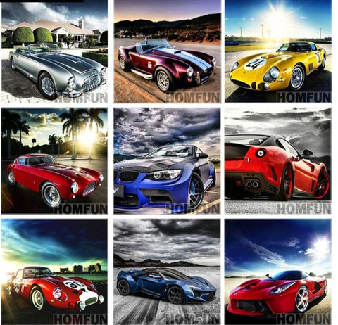 Collection Of Luxury Cars | Full Square/Round Drill 5D Diamonds | DIY Automotive Cross Stitch | Scenic Car Painting - Diamond Paintings Store