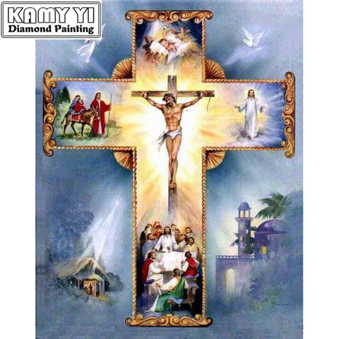 5D Diamond Painting, Christian Cross,  Jesus Christ -Diamond Paintings, Diamond Paintings Store
