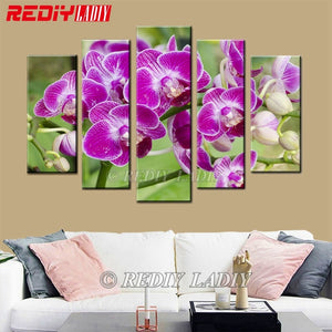 """Orchid Flowers"" 5 Panels,  5D Diamond Painting -Diamond Paintings, Diamond Paintings Store"