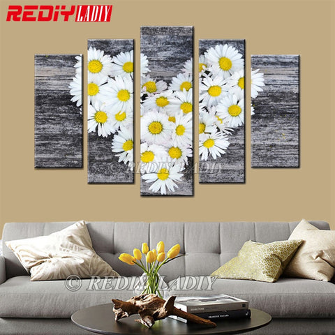 White Daisy Love, 5 Panel, 5D Diamond Painting Kit -Diamond Paintings, Diamond Paintings Store