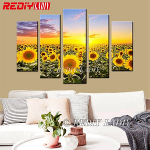 Sunflowers Field, 5 Panel Diamond Painting -WOW -Diamond Paintings, Diamond Paintings Store