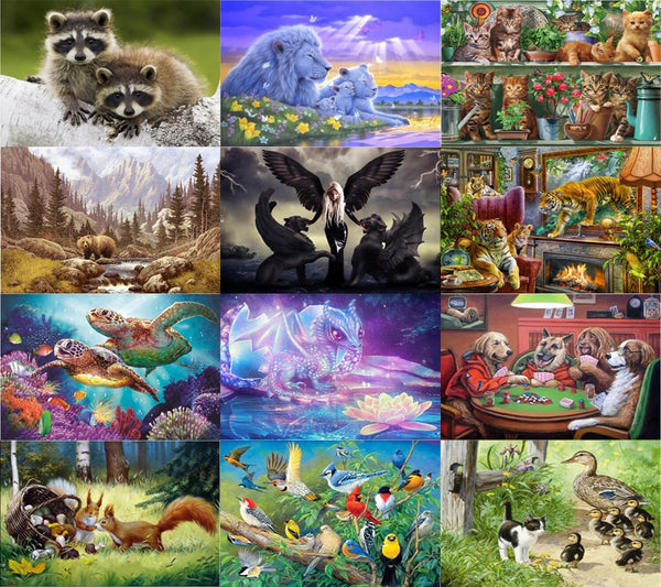 Mixed Animal Prints, 5D Diamond Painting Kits - 22 Designs to Choose -Diamond Paintings, Diamond Paintings Store