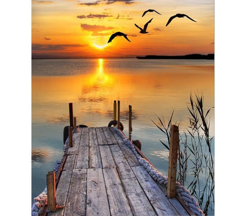 Lake Sunset 5D Diamond Painting Kit -Diamond Painting Kits, Diamond Paintings Store