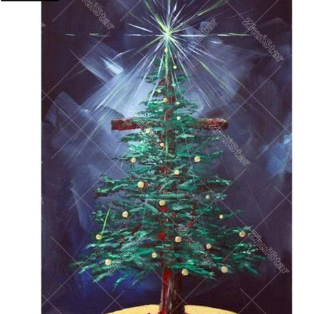 "Full Square Drill - 5D DIY Diamond Painting ""Cross Christmas tree"" -Diamond Paintings, Diamond Paintings Store"