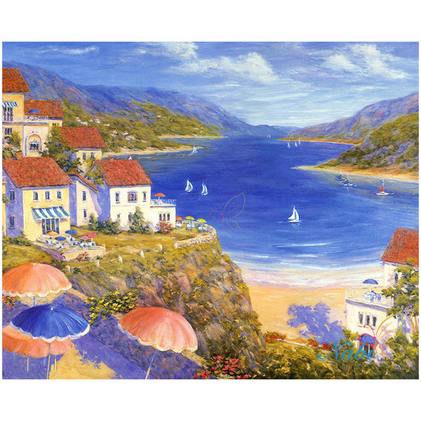 Intricate, Beautiful Seaside Town Diamond Painting Kits Available -24 Scenes to Choose From -Diamond Paintings, Diamond Paintings Store