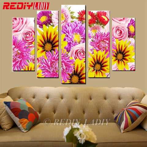 Vivid Daisy 5 Panel, 5D Diamond Painting -Diamond Paintings, Diamond Paintings Store