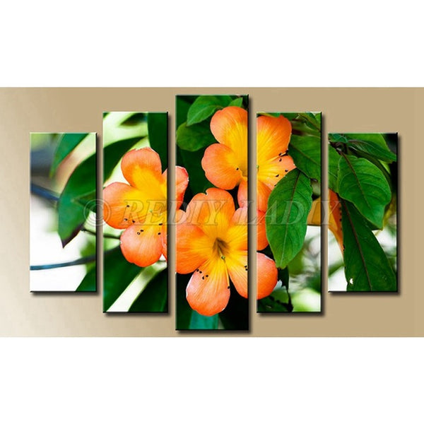 Vivid Daisy 5 Panel, 5D Diamond Painting - Diamond Paintings Store