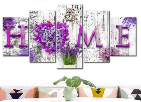 Home Flowers 5 Panel Diamond Painting Kit -Diamond Paintings, Diamond Paintings Store