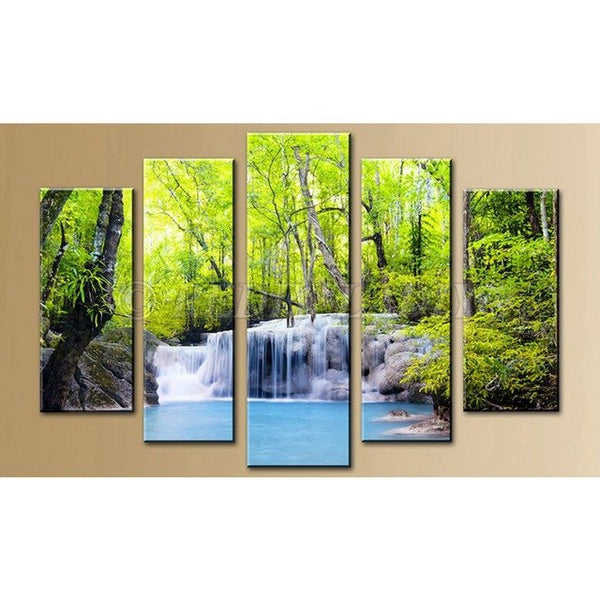 Blue Autumn Stream 5 Panel Diamond Painting - Diamond Paintings Store