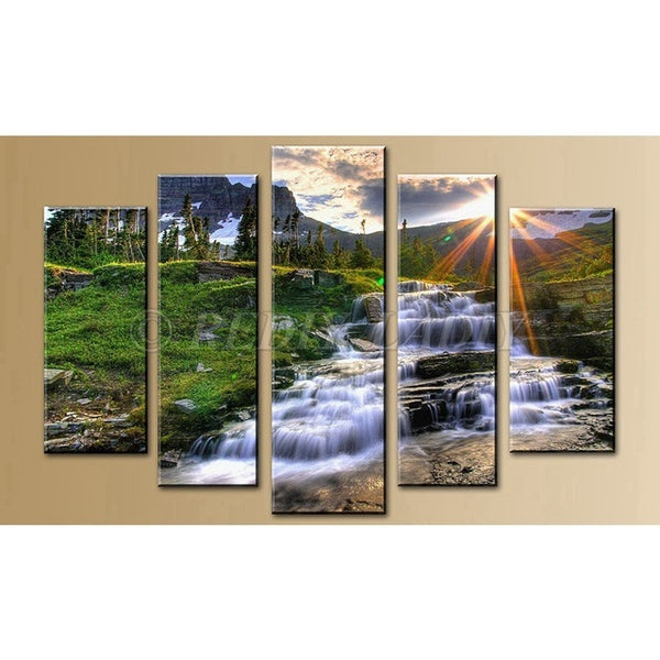 Blue Autumn Stream 5 Panel Diamond Painting -Diamond Paintings, Diamond Paintings Store