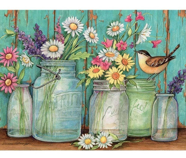 Mason Jar Daisies, 5D DIY Diamond Painting, Full Square Diamond Rhinestone Art -On Salee -Diamond Paintings, Diamond Paintings Store