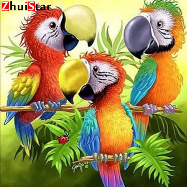 Toucan Parrots, 5D DIY Diamond Painting BOLD color | Full Square Rhinestone Mosaic Diamond Art