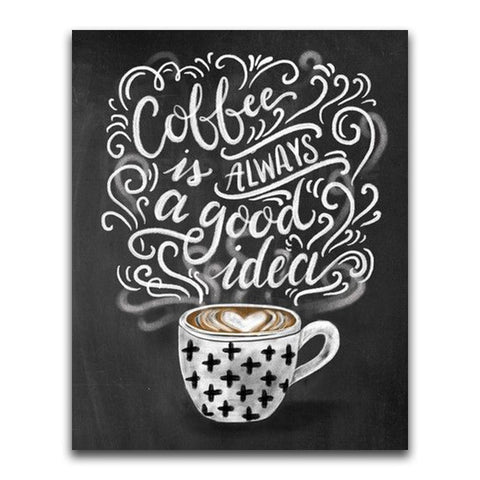 Black And White Coffee Black Board Message | Chalkboard Diamond Painting Kit | Full Square/Round Drill 5D Diamonds | Colorful Chalk Messages