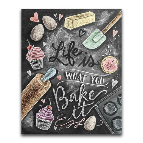 Creative Bakers Black Board Message | Chalkboard Diamond Painting Kit | Full Square/Round Drill 5D Diamonds | Colorful Chalk Messages -