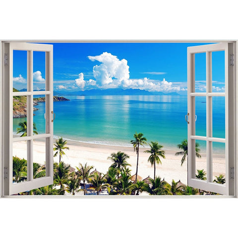NEW Scenic Diamond Painting Kit | 5D DIY Full Square / Round Drill Diamond | Ocean Scenery Beach Window Embroidery Art -Diamond Painting Kits, Diamond Paintings Store