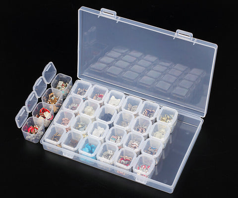 Diamond Painting Accessories | 28/pc Plastic Storage Container/box - Compact Diamond Rhinestone Storage Case -Diamond Paintings, Diamond Paintings Store