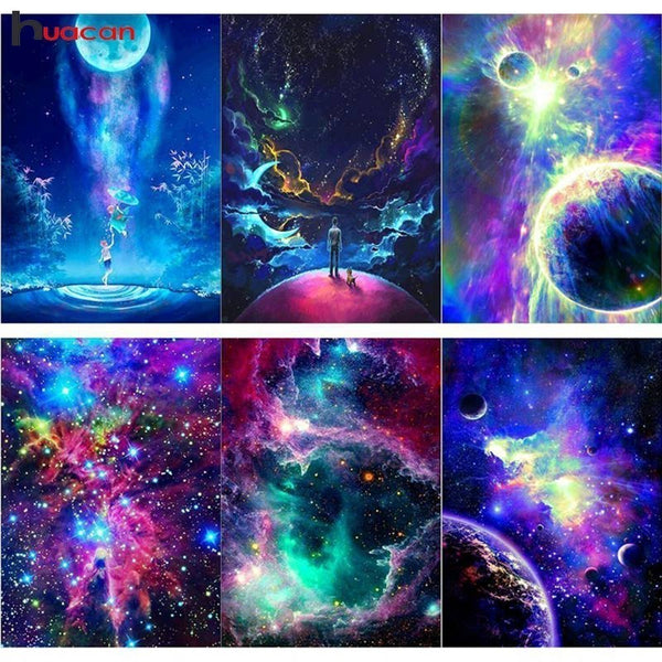 DIY Full Drill Square Diamond Painting Landscape Diamond Embroidery Starry Sky Rhinestone Mosaic Painting - Diamond Paintings Store
