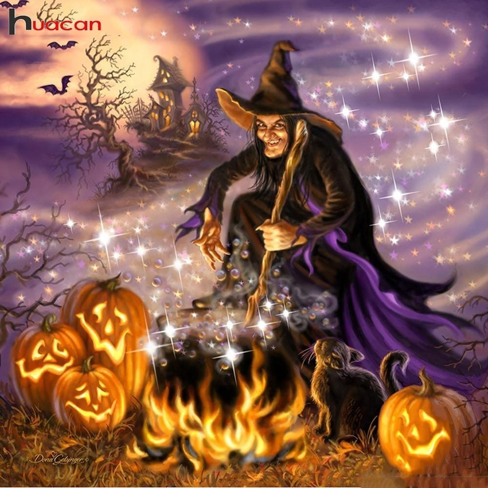 Halloween Witches Brew, Full Square Diamond Painting Kit. On Sale -Diamond Paintings, Diamond Paintings Store