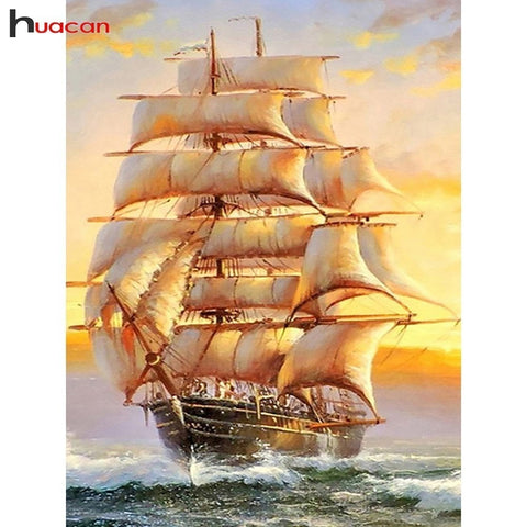 Full Rigged Sailing Ships 5D DIY Diamond Painting Kits, Full Square Diamond Rhinestone Art -Diamond Painting Kits, Diamond Paintings Store