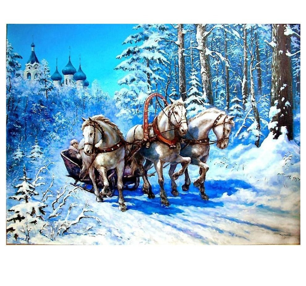 5D Diamond Painting, Christmas Sleigh and Horses DIY Diamond Painting Kit -Diamond Paintings, Diamond Paintings Store
