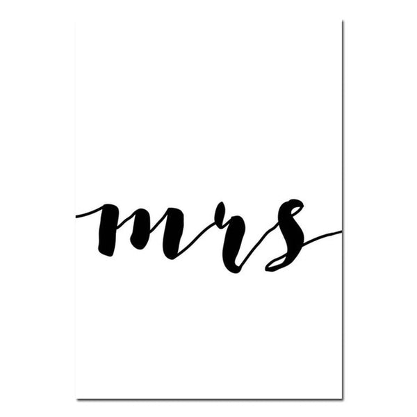 Mr Mrs Family Love Quote, Minimalistic Wall Art Canvas -Diamond Painting Kits, Diamond Paintings Store