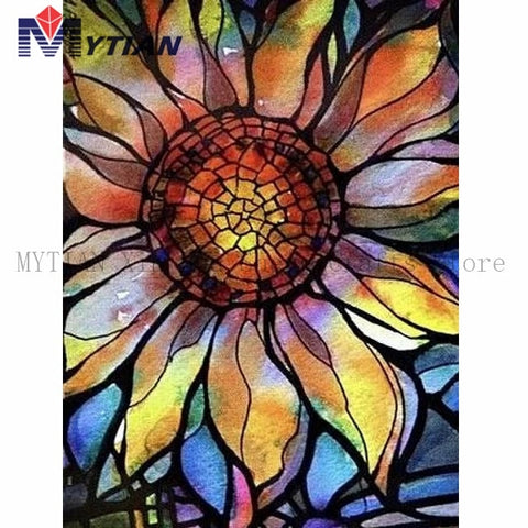 5D DIY Diamond Painting Glass Stained Sunflower Mosaic Cross Stitch Full Square Round Drill Diamond Painting - Diamond Paintings Store