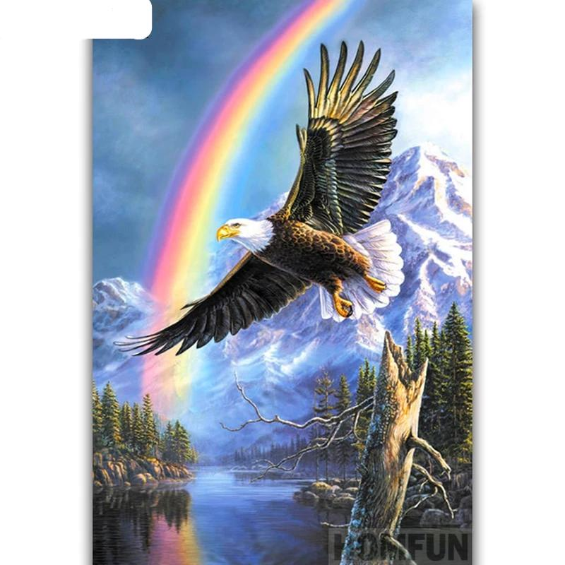 """Soaring Eagle Rainbow"", 5D DIY Diamond Painting Kit, Full Square/Round Drill Rhinestones -Diamond Paintings, Diamond Paintings Store"