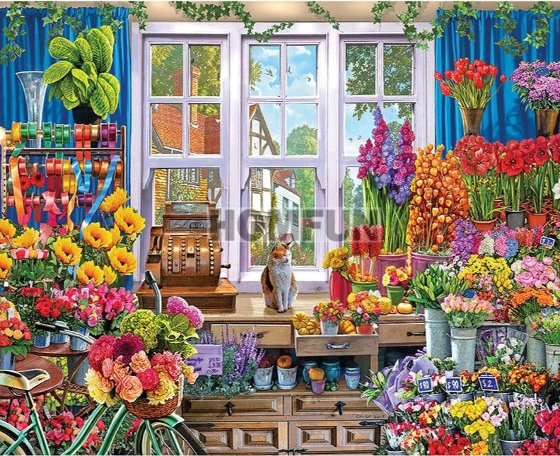 NEW Flower Shop, 5D Diamond Painting Kit - Full Square/Round Drill Rhinestone Diamond Art -Diamond Painting Kits, Diamond Paintings Store