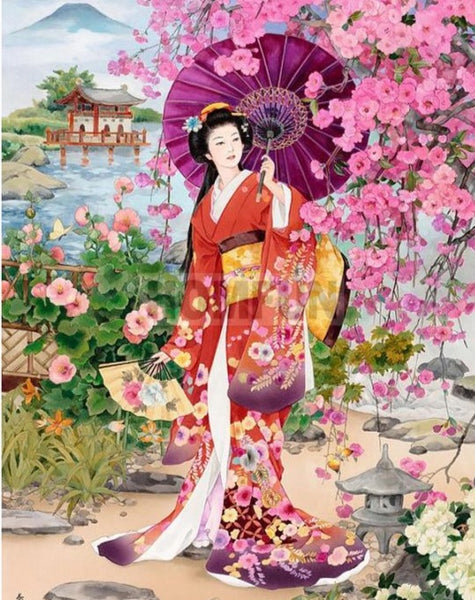 "New 5D ""Japanese Art, Woman in Garden"" Diamond Painting Kit -Diamond Paintings, Diamond Paintings Store"