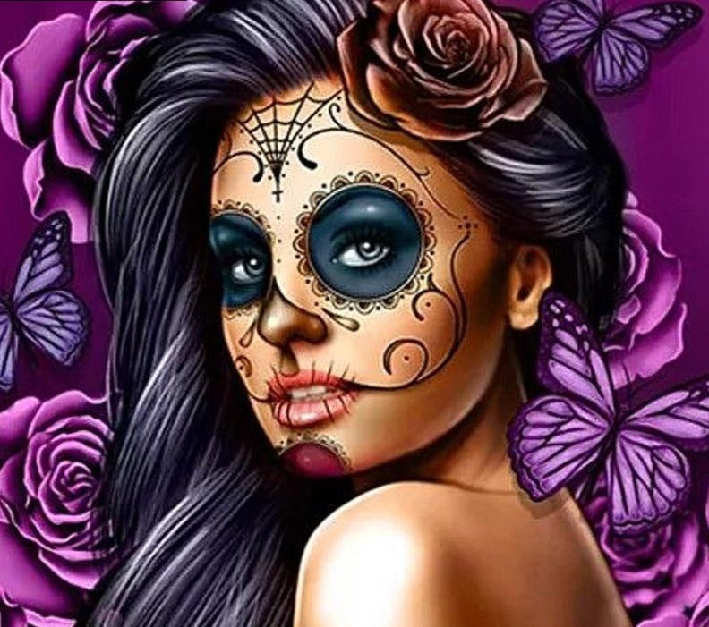 "NEW Diamond Painting Kit-  ""Skull girl"", Available in Full Square or Round Drill - Diamond Paintings Store"