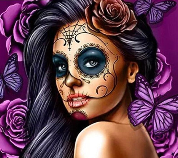 "NEW Diamond Painting Kit-  ""Skull girl"", Available in Full Square or Round Drill -Diamond Paintings, Diamond Paintings Store"