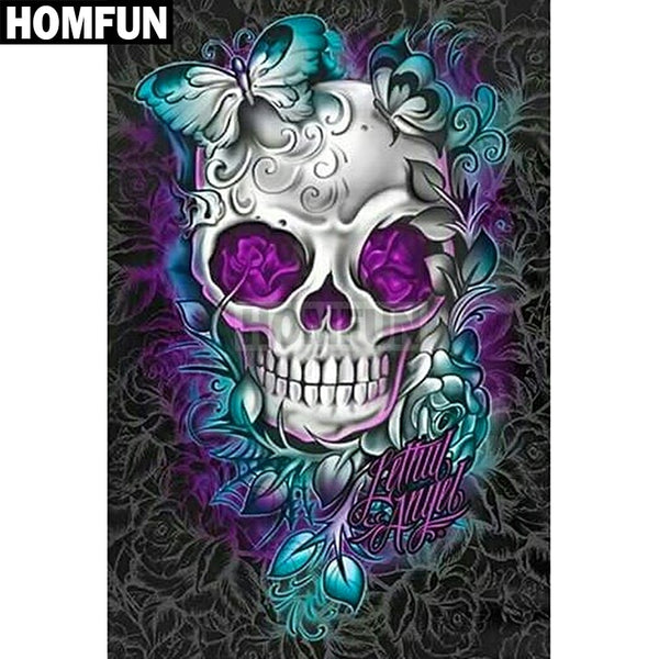 "Intricate Full Square/Round Drill 5D DIY Diamond Painting -""Flower skull"" - -Diamond Paintings, Diamond Paintings Store"