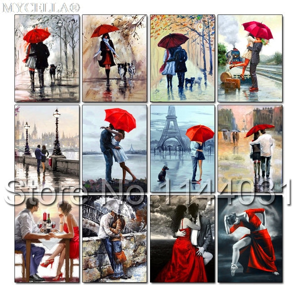 DIY Diamond Painting, Umbrella Lovers,  Full Diamond Mosaic 25 Designs - Collect Them all - On Sale -Diamond Paintings, Diamond Paintings Store