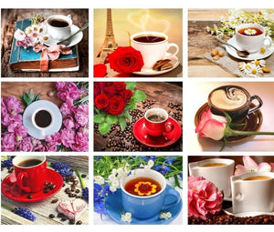 New - Scenic Coffee Cups and Flowers - Diamond Painting Kits, -Diamond Paintings, Diamond Paintings Store