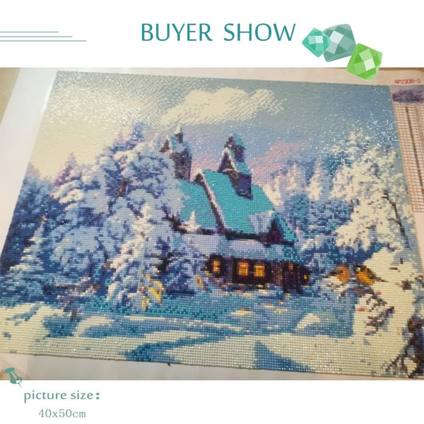 Cabin Snow, 5D DIY Diamond Painting,  Scenic Diamond Embroidery, Full Square - Diamond Paintings Store