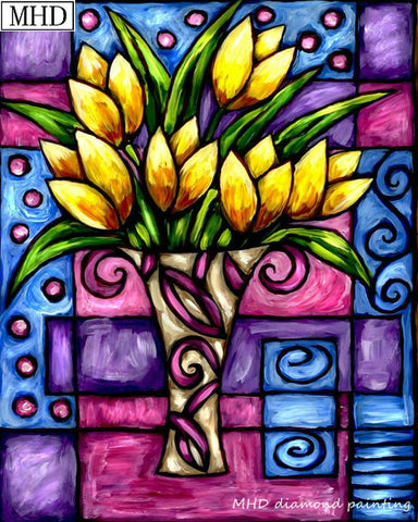 Yellow Tulip Bouquet, 5D Diamond Painting - Stained glass window flower pattern- On Sale - Diamond Paintings Store