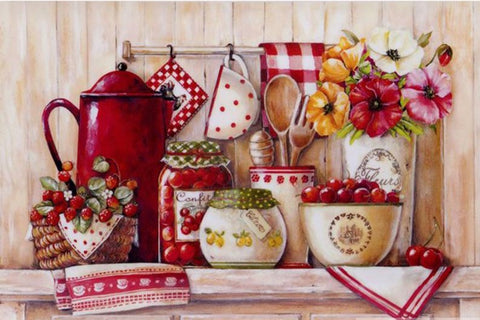 Country Kitchen, 5D DIY Diamond Painting - Full Square/Round Drill -Diamond Painting Kits, Diamond Paintings Store