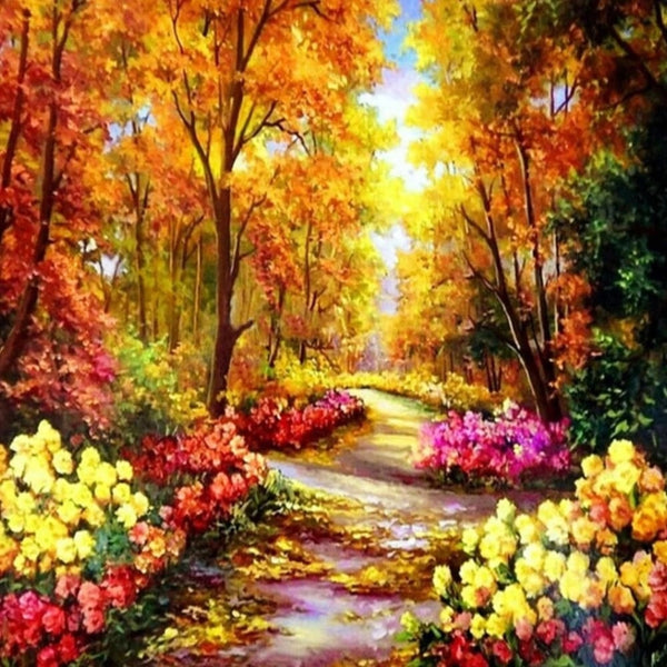 Autumn Pathway Crystal Diamond Painting Kit,  Full Square or Pebble Round Rhinestones. -Diamond Painting Kits, Diamond Paintings Store