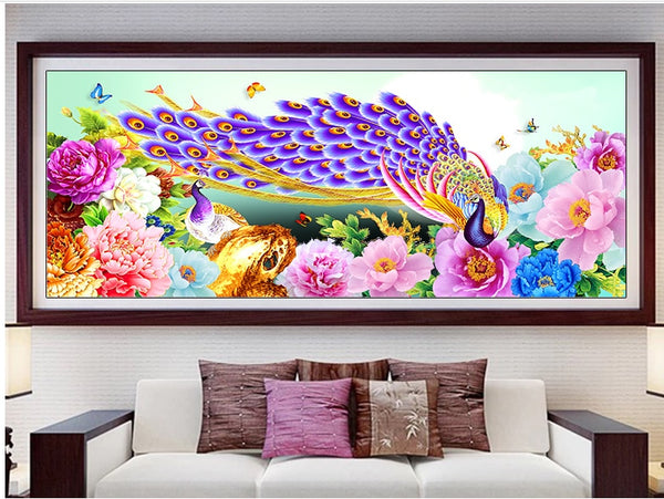 2019 Peacock Diamond Painting Kit | 5D Round Crystal Diamond Peony Flower | Animal Floral Embroidery Art - Diamond Paintings Store