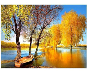 Autumn Lake Full Square 5D Diamond Art | DIY Diamond Rhinestone Embroidery - Diamond Paintings Store