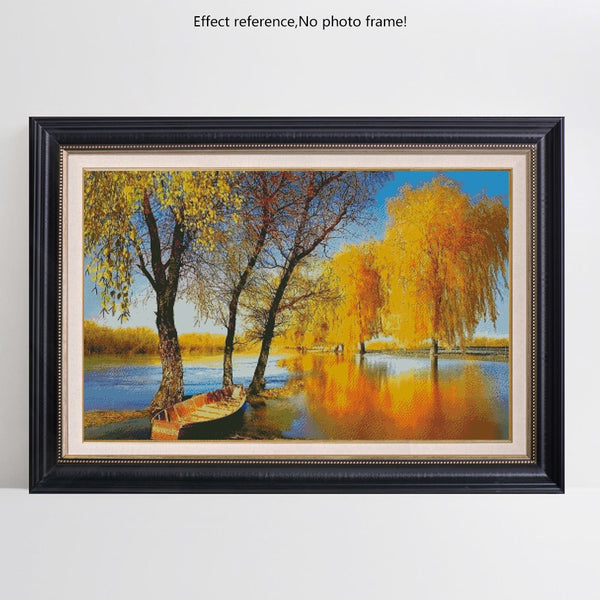 Autumn Lake Full Square 5D Diamond Art | DIY Diamond Rhinestone Embroidery -Diamond Paintings, Diamond Paintings Store