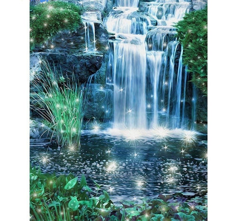 """Magic Waterfall"" DIY Diamond Painting Kit, Full Square Mosaic Rhinestone Diamond Art, 4 Designs to Choose -Diamond Painting Kits, Diamond Paintings Store"