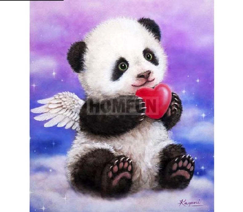 5D Diamond Painting, Cartoon Angel Panda - Full Square/Round Drill -Diamond Paintings, Diamond Paintings Store