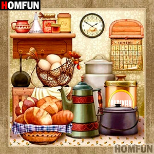 "5D Diamond Painting - Full Square/Round Drill, ""Country Kitchen Mealtime"" -Diamond Painting Kits, Diamond Paintings Store"