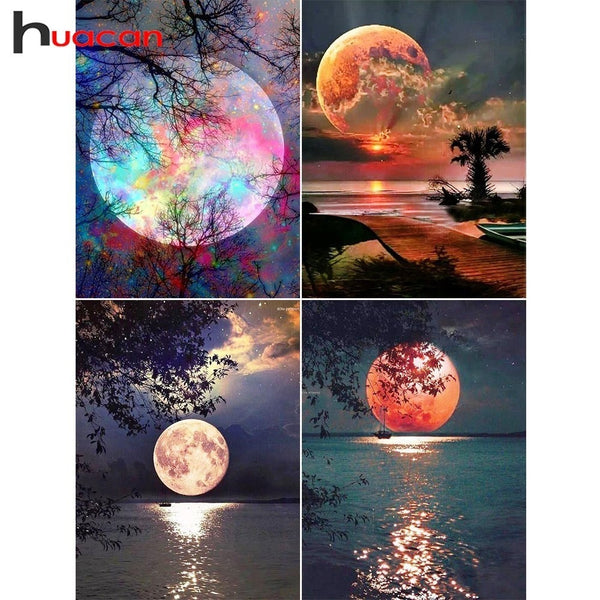 Colorful Moon 5D Diamond Painting,  Full Square Drill Diamond Rhinestones - 5 Designs -Diamond Paintings, Diamond Paintings Store