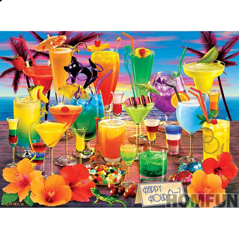 """Colorful Cocktails"" 5D Diamond Painting Kits, Full Square/Round Drill Diamond Dots Art -  ""Holiday drink"" -Diamond Paintings, Diamond Paintings Store"