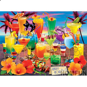 """Colorful Cocktails"" 5D Diamond Painting Kits, Full Square/Round Drill Diamond Dots Art -  ""Holiday drink"" -Diamond Painting Kits, Diamond Paintings Store"
