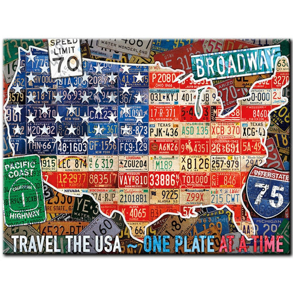 License Plate USA, 5D Diamond Painting Kit, Full Square / Round Drill Diamond Dots Art -Diamond Paintings, Diamond Paintings Store
