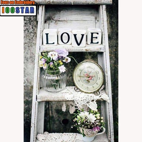 NEW White Washed Step Ladder Love, Full Square/Round Diamond Painting Art - Needlework Embroidery -Diamond Paintings, Diamond Paintings Store