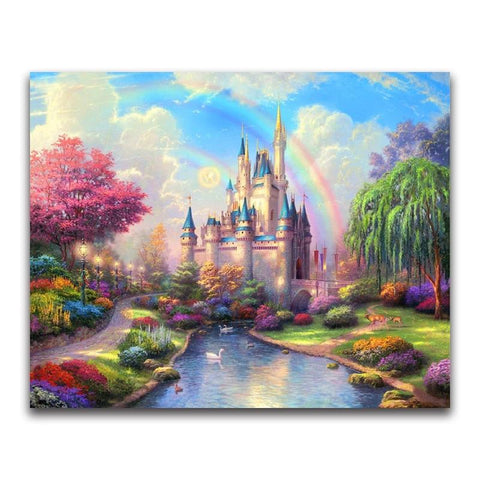 Colorful Castle Rainbow, 5D Diamond Painting Kits | Full Square / Round Drill Rhinestone Mosaic Diamond Art -Diamond Painting Kits, Diamond Paintings Store